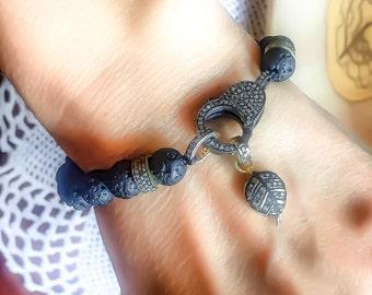 Rose Cut Diamonds, Lava Stone ,Sterling Silver,  Diamonds Bracelet