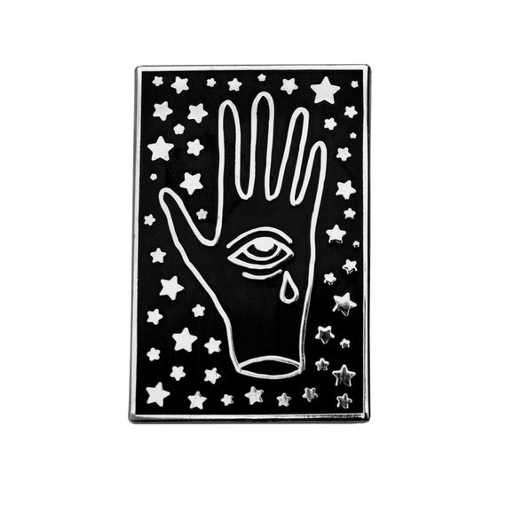 Silver crying third eye enamel pin. Palm with eye and stars lapel pin. Occult.