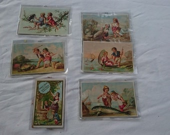 Antique French Chocolat POULAIN Chocolate Trading Cards Set of 6 Original