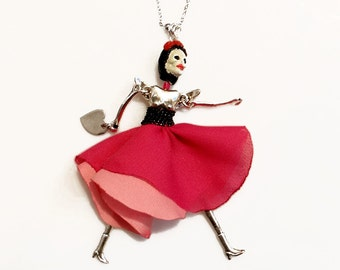 Creepy Cute Doll Necklace, Skeleton Statement Necklace, Frida Doll Charm Necklace