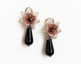 Flower Dangle Earrings, Black Drop Earrings, Vintage Glam Statement Earrings