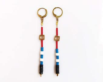 Long Drop Earrings, Long Geometric Earrings, Nautical Earrings Multicolor, Blue Red Earrings