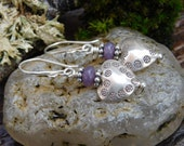 Hill Tribe Silver and Lavender Lepidolite Dangle Earrings