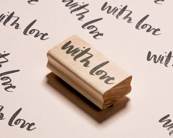 With Love Brush Lettering Stamp- Wood or Acrylic