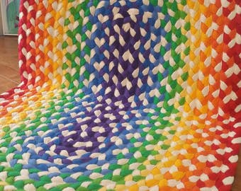 "32""x 50"" rainbow photo prop braided rug created from new and recycled t shirts"