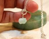 Dainty Jade Pig Silver Necklace, Light Green Jade, Sterling Silver Chain, Birthday Gift, Birth Animals