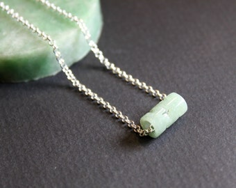 Dainty Filigree Carved Jade Tube Bead Silver Necklace, Sterling Silver Chain, Birthday Gift, Moms Gift