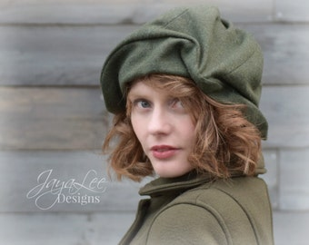 Draped Beret Hat in Forest Green Wool Tweed