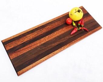 "Handmade Wood Cutting Board - Optional Engraving -  Small Cutting Board and Richly Dark - Black Walnut and Mahogany - 16-1/2 x 6 x 3/4"""