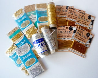 Lot Vintage Gold and Silver Metallic Trims Braid Ric Rac Cording Tinsel Cord