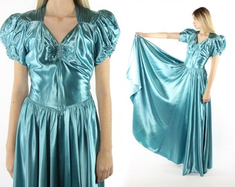 Vintage 40s Evening Gown Turquoise Liquid Satin Full Sweep Old Hollywood Dress Prom Foraml 1940s Puff Sleeves XS xsmall
