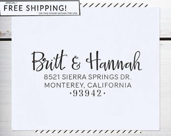 Self Inking Address Stamp, Return Address Stamp, Wedding , Christmas Stamp, Calligraphy Address Stamp, or Eco Mount - Hannah