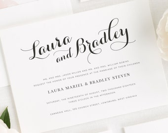 Romantic Script Wedding Invitations - Sample