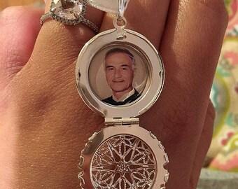 Bridal Bouquet Charm, Bridal Locket, Custom Photo, Bridal Charm, Memorial Photo Charm, Wedding Jewelry