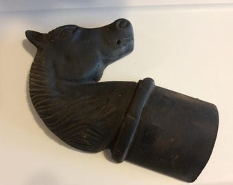 "Large 12 1/2"" tall Cast Iron Horse Head Hitching Post half, Black Horse Bust, Antique Cast Iron, Sign L.H."