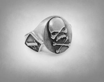 1percent er Skull Sterling Silver Harley Biker Outlaw Ring Solid Silver 925