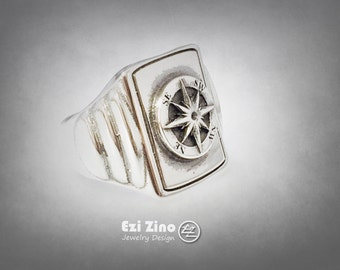 Ezi Zino Mens Compass Signet Solid Sterling Silver 925 New 2015 Ring