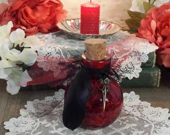 Morrigan Bottle, Witches Bottle, Goddess Morrigan, Raven Goddess, Red Witch Bottle, Dark Goddess, Crow Feather