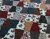Busy Beavers Quilt Baby or Lap Size Tumbler -- Andie Hanna -- red, black, blue, brown, buffalo plaid