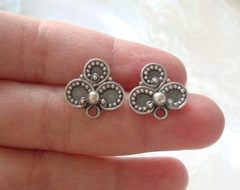 2 pcs, 15mm, Oxidized Sterling Silver Filigree Floral Ear Post Earrings With Loop, Premium Ear Nuts Included, EP-0053