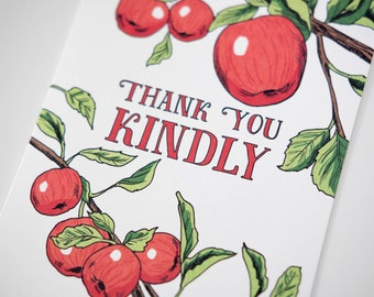 SALE -Thank You Kindly greeting card - Kindly Apples- 50% off