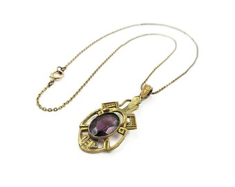 Victorian Revival Pendant Necklace - Amethyst Glass, Gilt Gold Tone, Vintage Necklace, Vintage Jewelry