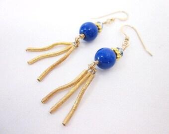 Blue Gem Earrings -- Dark Blue Dangles -- Gold & Round Blue Earrings -- Blue Fringe Earrings -- Blue Jade Earrings -- Wavy Earrings