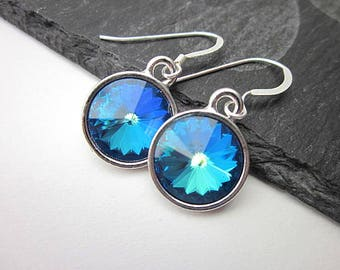 Silver & Ocean Blue Earrings -- Ocean Blue Crystal Earrings -- Dark Blue Crystal Drop Earrings -- Round Blue Swarovski Earrings -- Rivolis