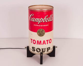Pop Art 1970s Campbell's Tomato Chicken Noodle Soup Can Table Lamp