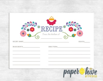 printable recipe cards / fiesta recipe card / bridal shower recipe cards / instant download recipe cards
