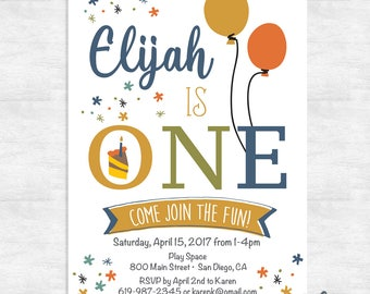 first birthday invitations / 1st birthday invitation boy / printable invitation / printed invitations