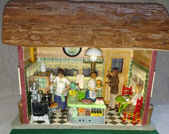 REDUCED OOAK Doll House, Diner, Room Box, Burgers and Pizza, Half Inch Scale, Four Schildkrot Dolls