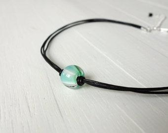 Leather choker necklace green bead choker single bead necklace minimalist choker for women