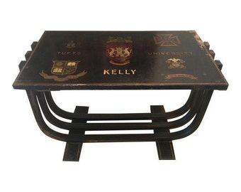 50's Deco Monogrammed Coffee Table Tufts US Navy