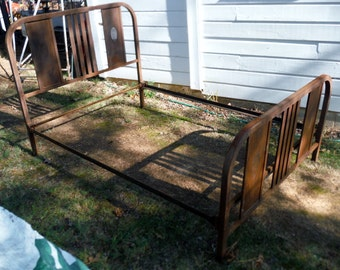 Antique Vintage 1940s  Full Size Steel Metal Bed  - Ups or Freight Shipping or Local Pick Only (20 % DISCOUNT APPLIED)