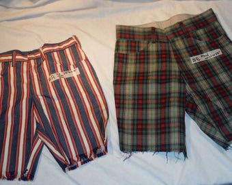 Choose OR Pick One...Vintage Womens 60s 70s Era Cutoff Festival Shorts with Waist sz 28 (USA Striped or Green Red Plaid Pattern design)