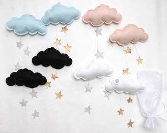 Starry Cloud Wall Hung Mobile - fabric sculpture for modern baby nursery decoration- Free US Shipping