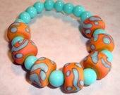 Turquise and Orange Lampwork Beads with Turquoise Gemstone Agate Beaded Bracelet on Elastic, Stretch Bracelet, Handmade Bracelet