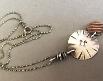 Zia Sun Copper Moon -:- Silver and copper pendant on silver chain. Southwest. Native American