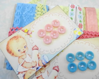 OOH Baby Button Cards Loose Ends Pastel Lace Trims Craft Destash Vintage Sewing Notions Supplies
