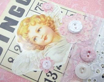 Guardian Angel Bingo Game Card Buttons Lace Baby Pink Theme Decorations Vintage Inspired Handmade Keepsake