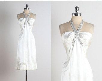 30% SALE Twist of Fate . vintage 1950s dress . vintage satin dress . 4979