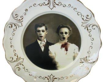 """Zombie Love Portrait Plate 8.25"""""""