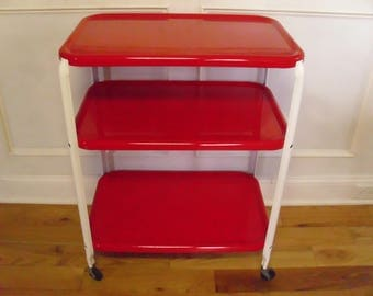 ON SALE  Vintage 1950's  3 Tiered Red Metal Rolling Cart