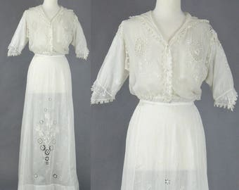 Edwardian Dress, 1910s White Cotton Dress, Antique Tea Dress, White Embroidered Eyelet and Crochet Lace Dress, Bohemian Chic, M - L