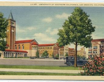 University of Southern California Los Angeles California linen postcard