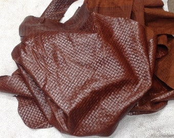 CLFE156.  Reddish Brown Basketweave Leather Cowhide
