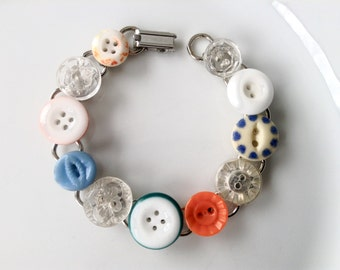 Dainty Dish and Glass button bracelet