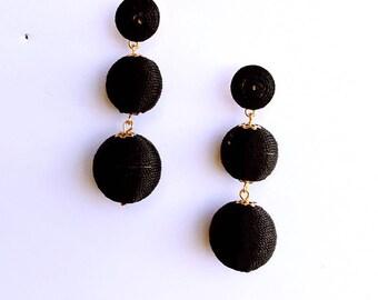 Black Cord wrapped Les Bonbon bon bon Earrings
