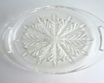 """Vintage 1950s Jeanette """"Feather """" Clear Glass Handled Tray"""